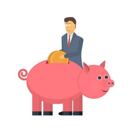 Capital. Save money in a piggy Bank. Profit, vector illustration Ilustrace