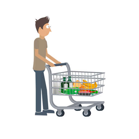 Shopping cart with food. Man shopping, vector illustration Reklamní fotografie - 148713705