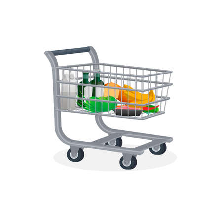 Shopping cart. Products in the basket, vector illustration Reklamní fotografie - 148714093