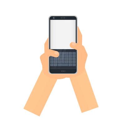 Write messages. Phone keypad. SMS chat, vector illustration