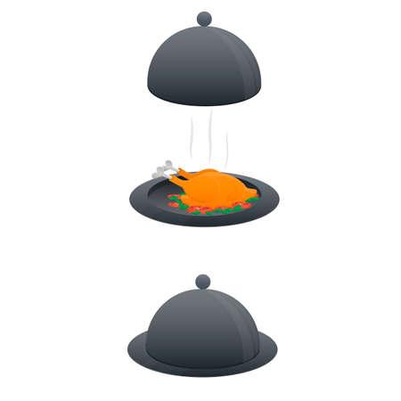 Cloche. Baked chicken on a tray, vector illustration