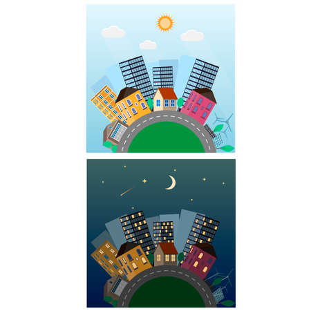 Day night in the city. Urban landscape, vector illustration
