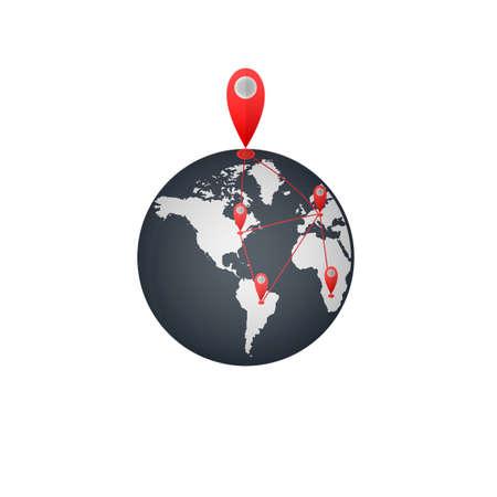 Location the globe. Navigation, vector illustration Ilustrace