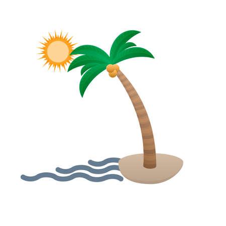 Palm tree on the beach. Vacation, vector illustration Ilustrace
