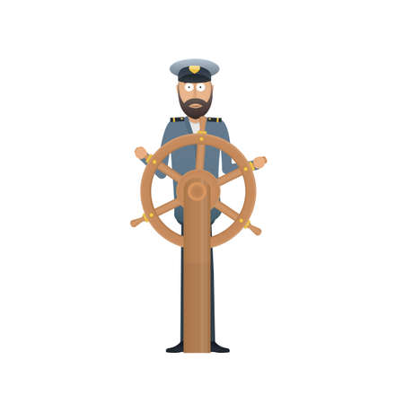 Ship captain. Sailor at the wheel. Control of the ship, vector illustration Reklamní fotografie - 149903150
