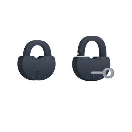Padlock Key in the lock, vector illustration Reklamní fotografie - 149979474