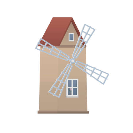 Windmill. The building of the windmill. Farm, vector illustration
