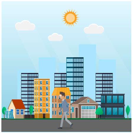Man walks through the city. Walking, vector illustration Ilustrace