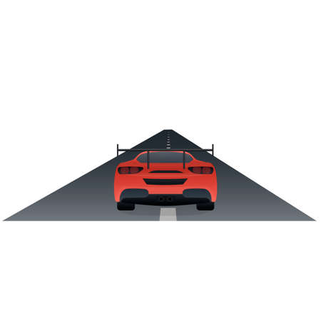 Sport car. Car eats on the road, vector illustration