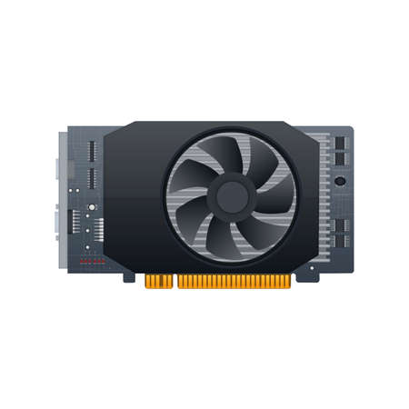 Video graphics card. Video card. GPU, vector illustration