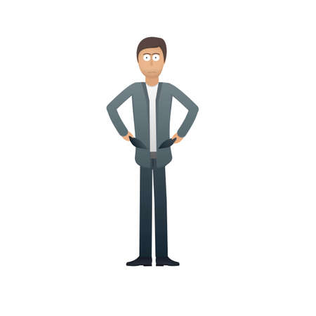Businessman with empty pockets. No money. Financial crisis, vector illustration
