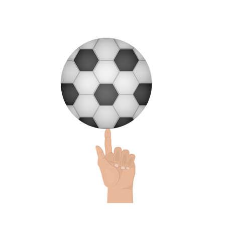 Soccer ball. Ball the finger, vector illustration