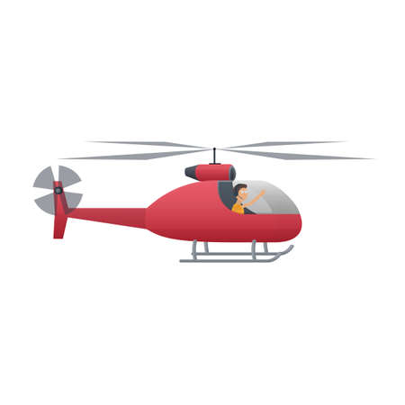 Helicopter pilot. Helicopter, vector illustration
