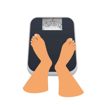 Weighing on the scales. Feet on scales, vector illustration