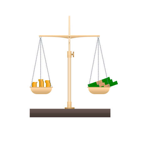 Money on the scales. Finance, vector illustration Reklamní fotografie - 150922323