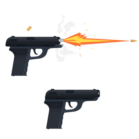 Shooting weapons vector illustration.