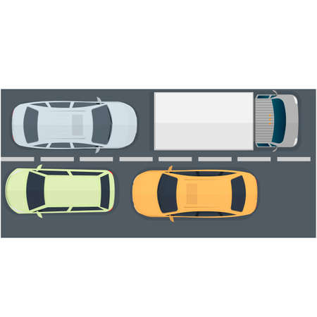 Cars driving on the road, vector illustration Vettoriali