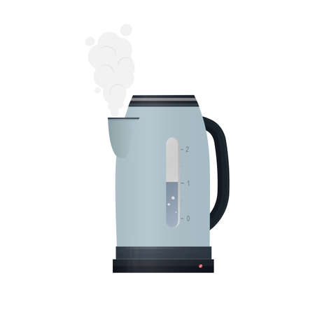 Electric kettle. Boiling water, vector illustration