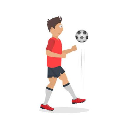 Footballer. Football player with a ball, vector illustration Vettoriali