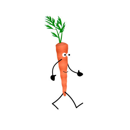 Carrot. Carrot character, vector illustration Vettoriali