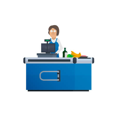 Cashier. Seller at the checkout. Vector illustration