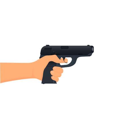 Gun in hand. Shooting weapons, vector illustration. Pistol