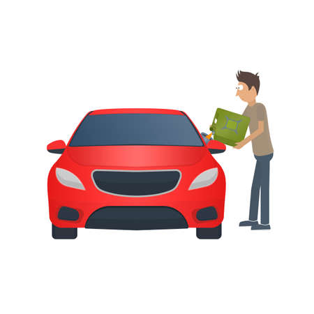 Refueling the car with fuel. Gas canister, vector illustration Vettoriali