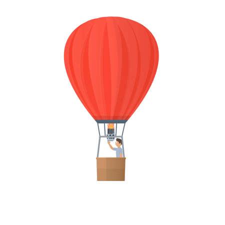 Hot air balloon. Balloon flight, vector illustration
