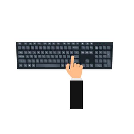 Computer keyboard. Press enter, vector illustration