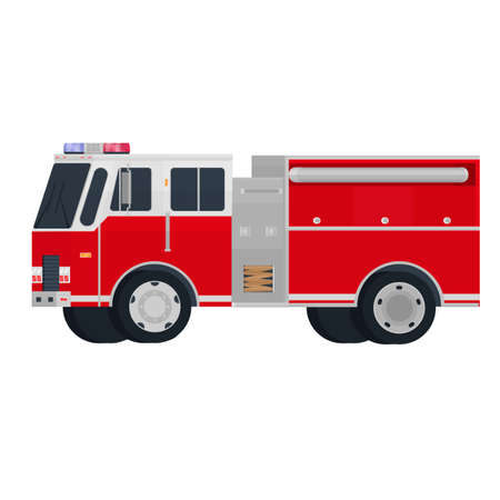 Fire engine. Red fire truck, vector illustration Ilustrace