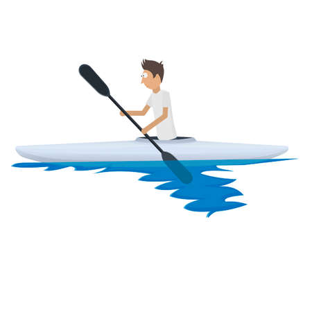 Canoeist. Swimming on a boat with oars, vector illustration