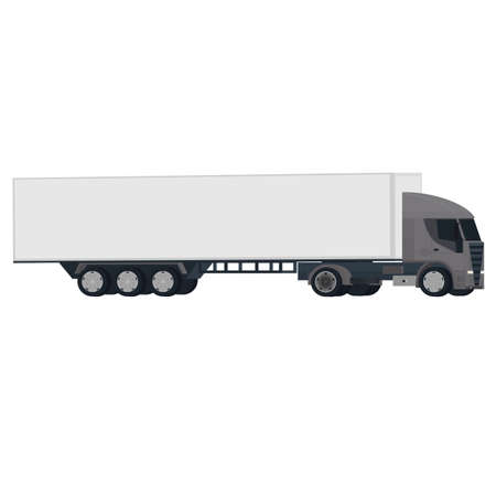 Truck with a trailer. Truck with container, vector illustration