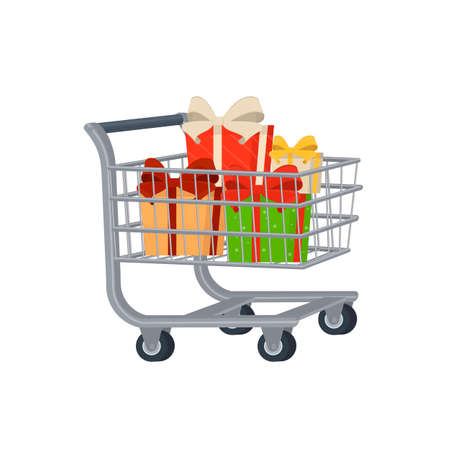 Shopping cart with gifts, vector illustration