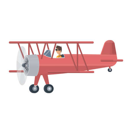 Biplane. Plane with a pilot, vector illustration
