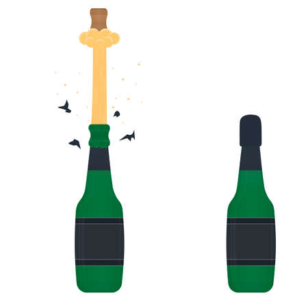 Champagne. Open a bottle of festive champagne, vector illustration