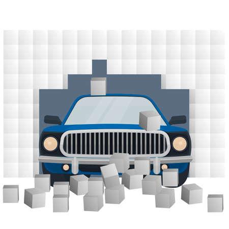 Car. Car crash, vector illustration