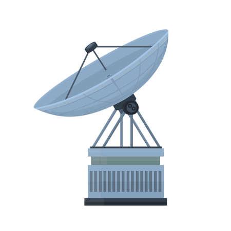 Radio telescope. Parabolic antenna, vector illustration