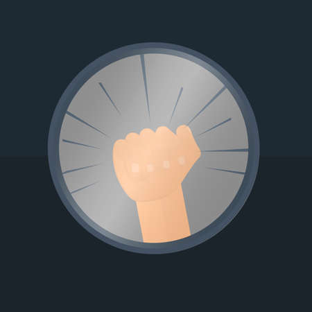 Banging fist. Tap the screen, vector illustrations