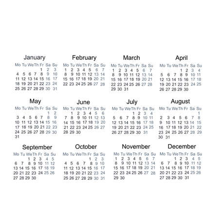 Calendar year 2021. Days, weeks and months, vector illustration