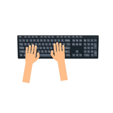 Typing on the keyboard. Using the keyboard, vector illustration Ilustrace