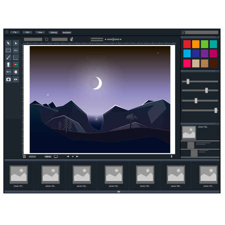 Photo editing. The program interface is a graphical editor. UX design