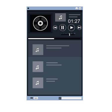 Music player. The program's interface, vector illustration