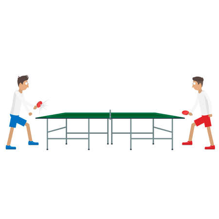 Table tennis. Two players playing table tennis, vector illustration