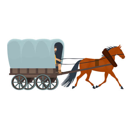 Horse cart. Coachman driving a horse, vector illustration