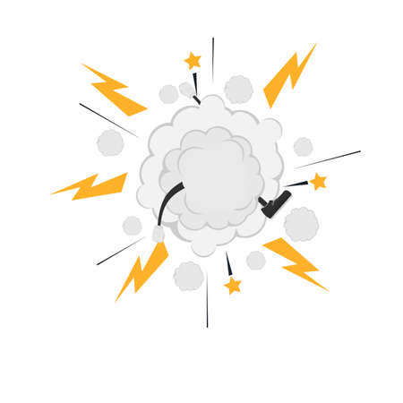 Cloud fight. Cartoon style, vector illustration