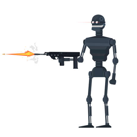 Army robot. Robot shoots weapons, vector illustration