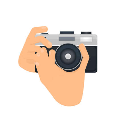 Camera in hand. Take photos, vector illustration. Photo camera