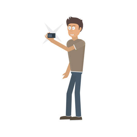 Photographer with a camera. Selfie, vector illustration. Photo camera in hand