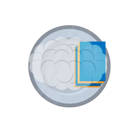 Dishwashing. A plate is cleaned with a sponge, vector illustration