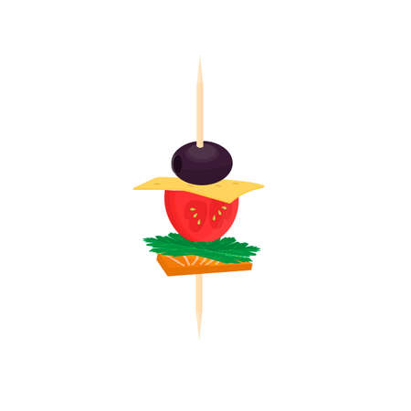 Canape. Skewers with food snack, vector illustration
